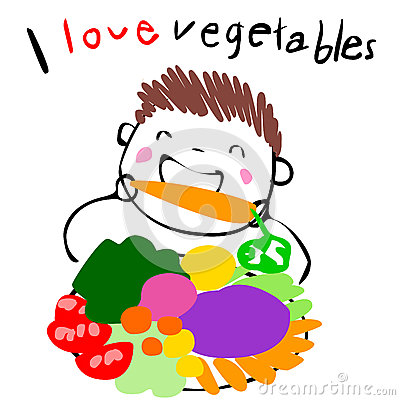 Boy Love Eating Vegetable Illustration Stock Vector.