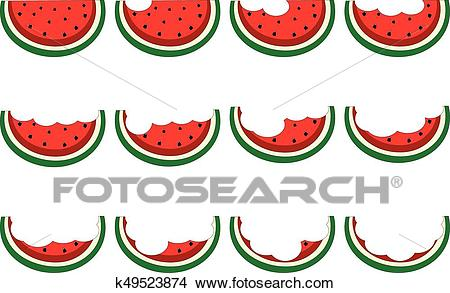 Eating slice watermelon collection isolated Clipart.
