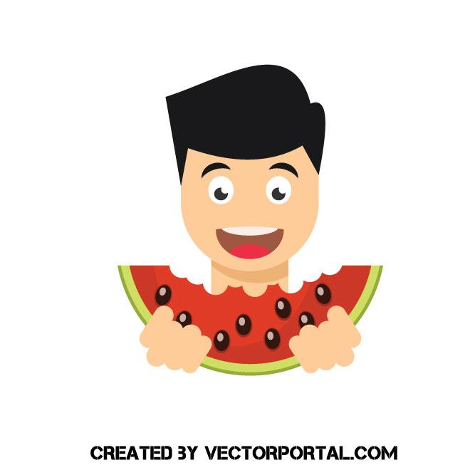 Boy eating watermelon vector clip art.