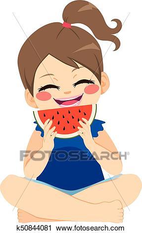 Girl Eating Watermelon Clipart.