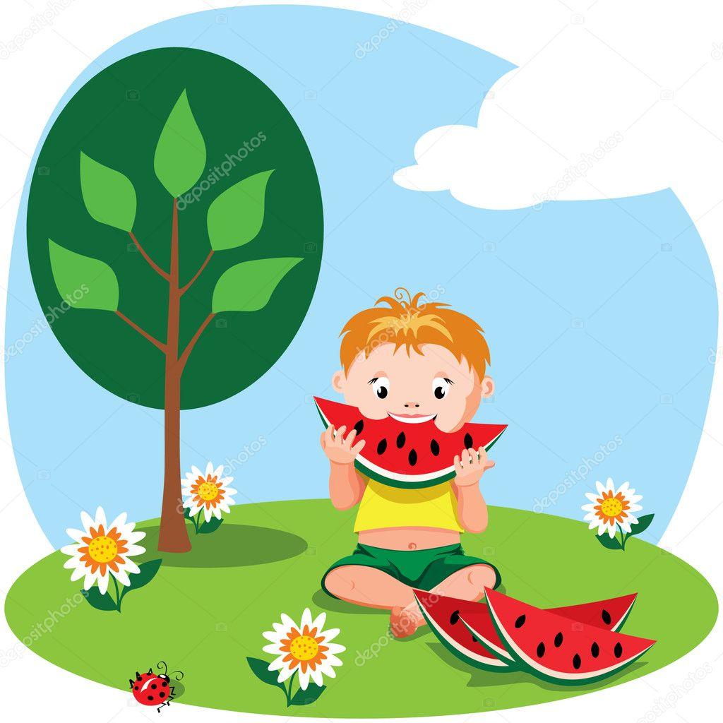 Boy eating watermelon — Stock Vector © toranoko #5822490.