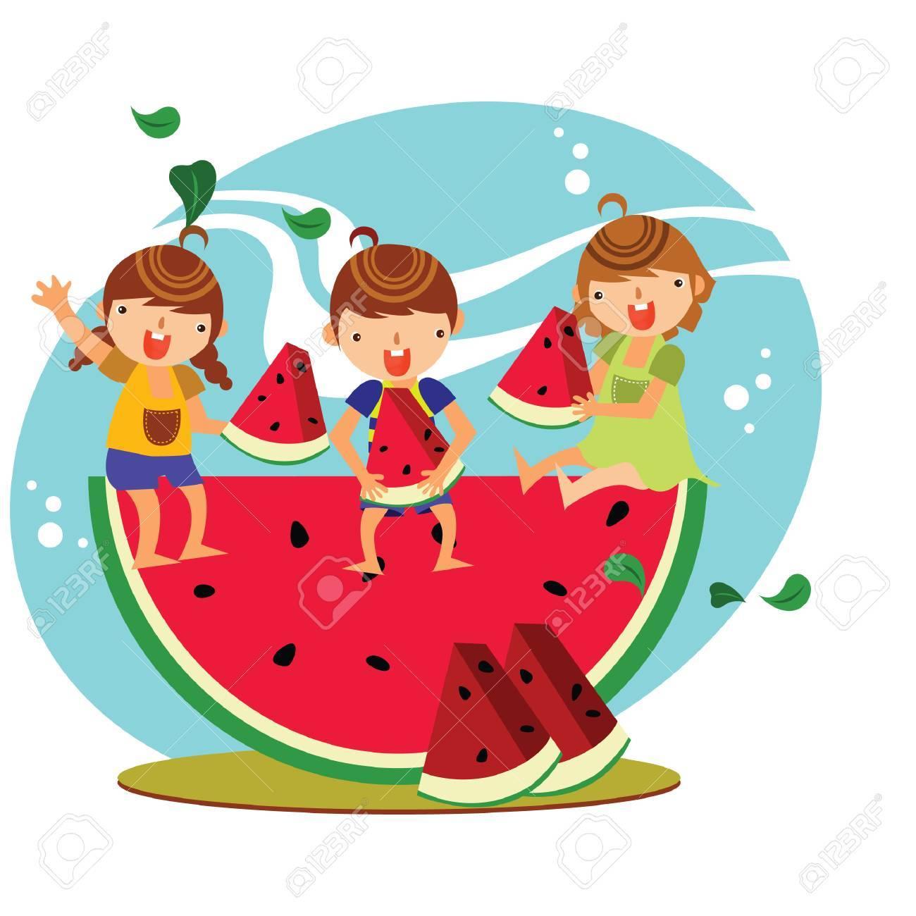 children eating watermelon.