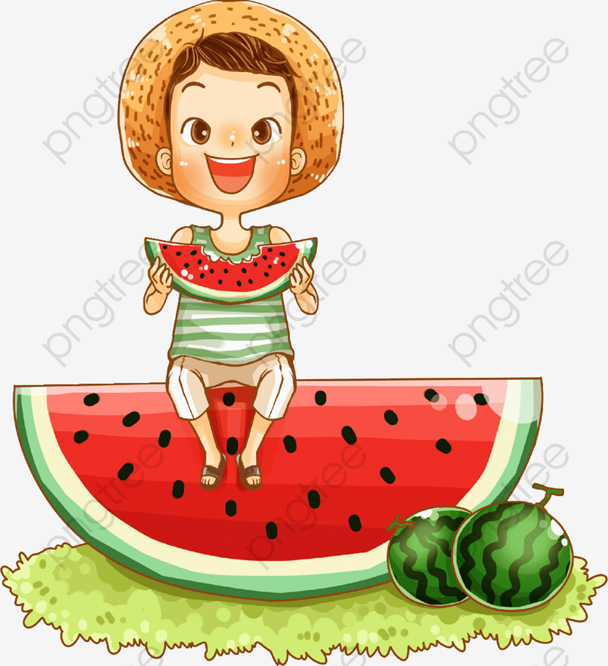 Cartoon Boy Sitting On Watermelon Eating Watermelon Illustration.