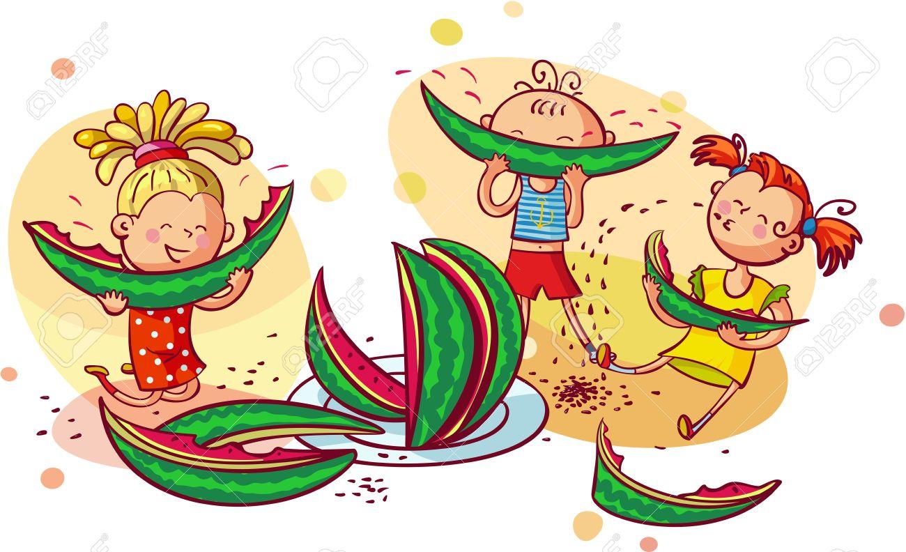 Happy smiling children eating watermelon.