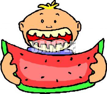 Boy Eating Watermelon.