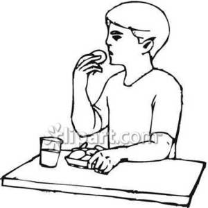 Eating Cookies with Milk Royalty Free Clipart Picture.