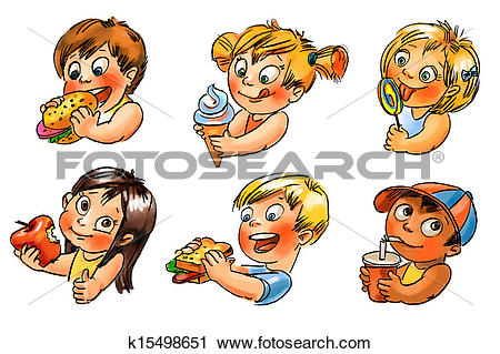 Clipart of The child eats. Hand painted illustration k15498651.
