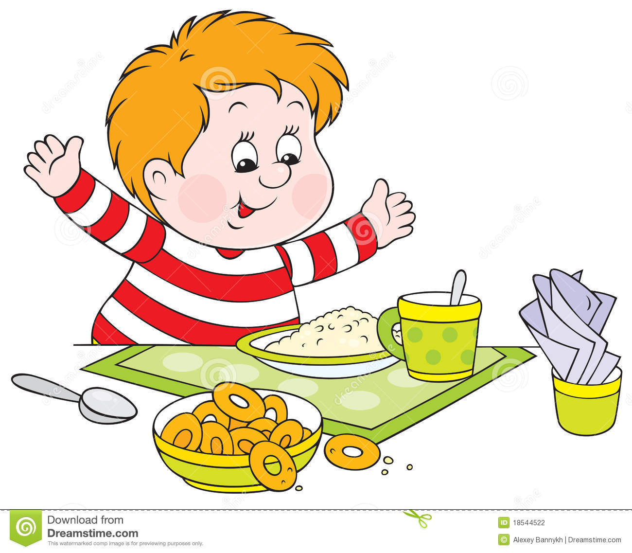 Boy Eating Dinner Clipart.