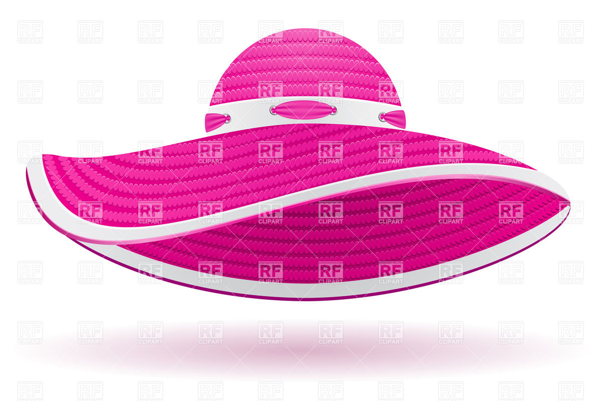 Pink women's beach hat with eaves Vector Image #31760.