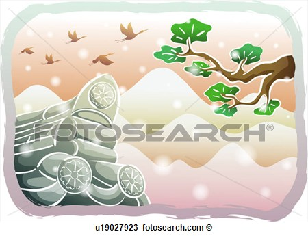 Pine Tree And Mountain Scene Clipart.