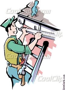 Handyman installing eaves Vector Clip art.