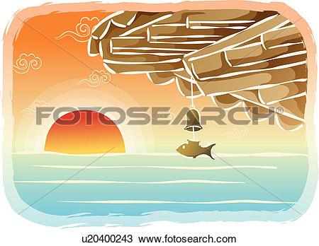 Drawing of sunset, scene, sunrise, sun, sea, eaves, landscape.
