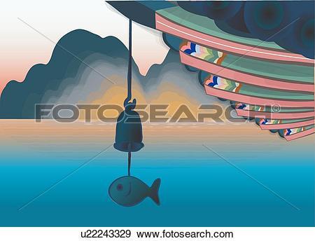Stock Illustration of Eaves of a Buddhist Temple u22243329.