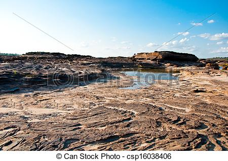 Stock Photography of Ebb tide of Khong River in Sam Pan Bok.