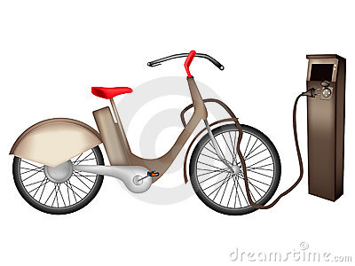 Electric Bike Stock Illustrations.