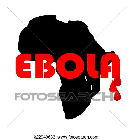 Map of Africa with the word ebola Clipart.