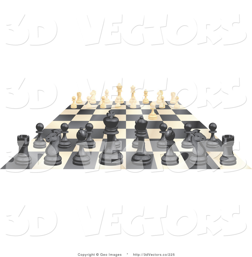 3d Vector Clipart of an Ebony and Ivory Chess Game Board by.