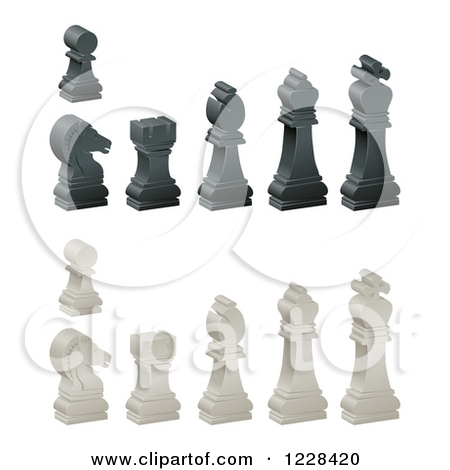 Clipart of 3d Ebony and Ivory Chess Pieces.