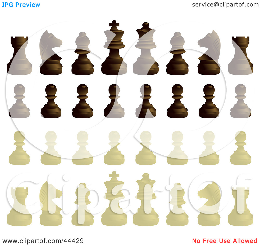 Clipart Illustration of Ebony And Ivory Chess Pieces by Frisko #44429.