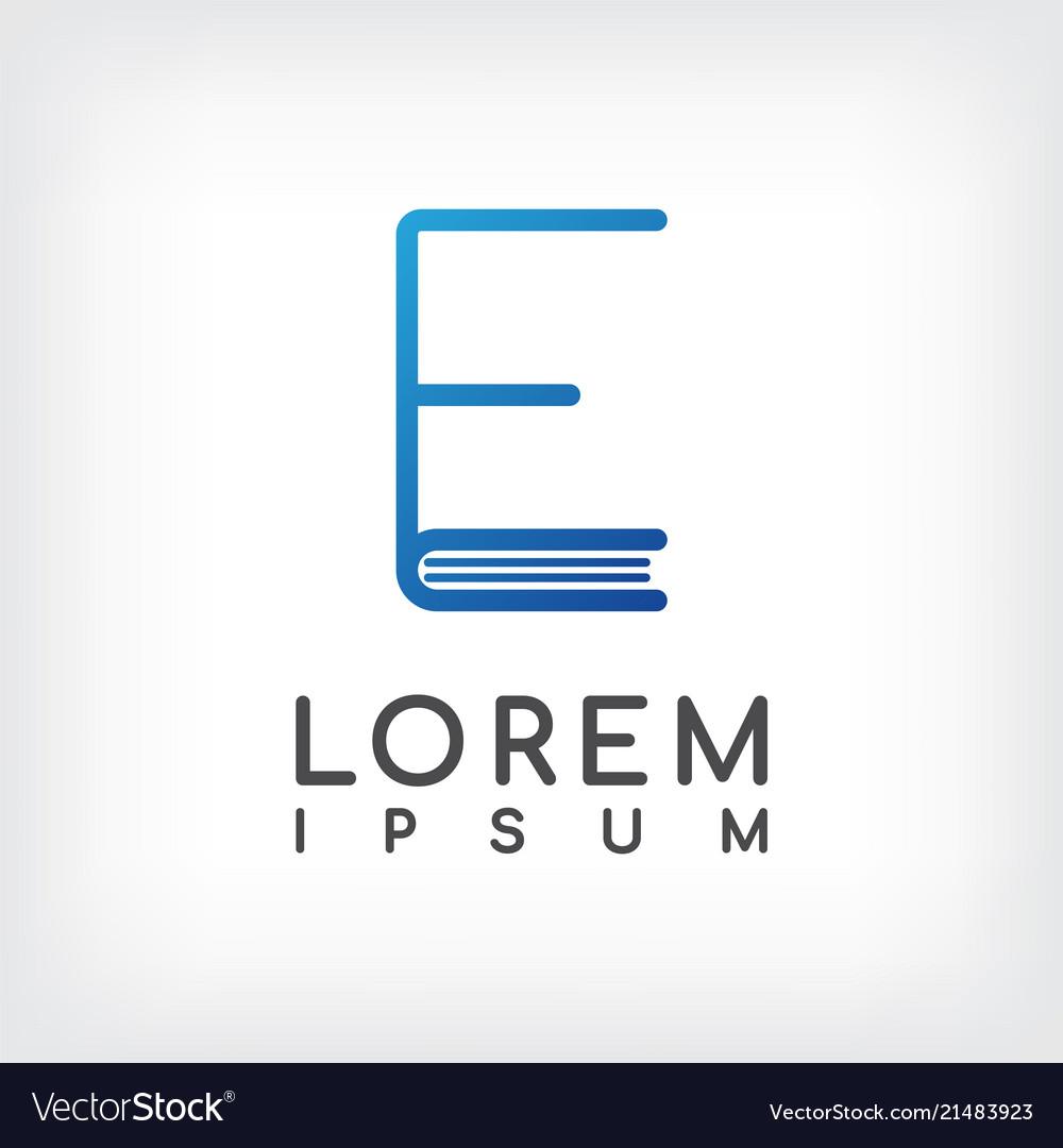 Letter e line minimal book logo design template.
