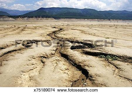 Stock Photo of Drought in Spain. The Ebro Basin. Dam of El Mediano.