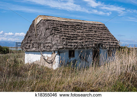 Stock Images of Rustic old traditional house in Ebro Delta, Spain.