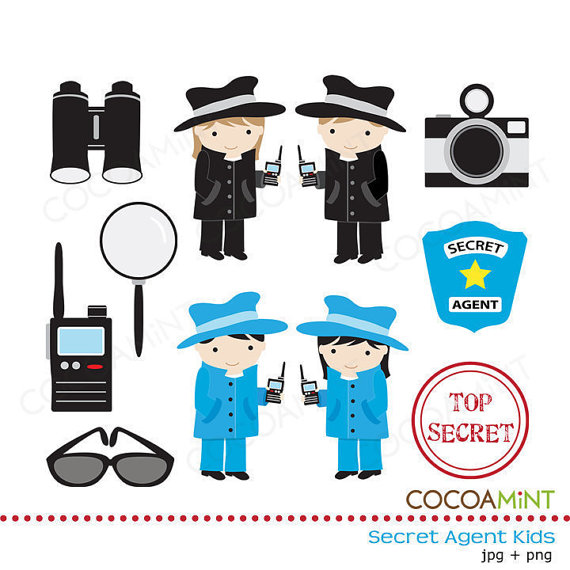 Secret Agent Kids Clip Art.