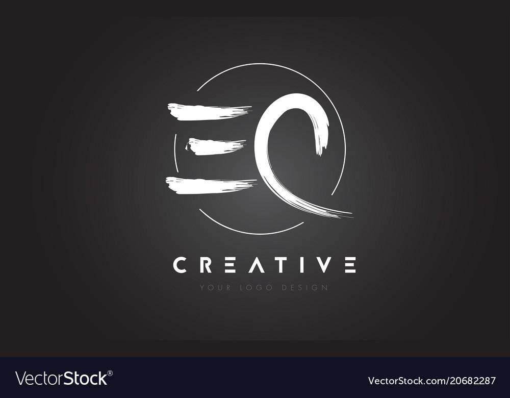 Ec brush letter logo design artistic handwritten.