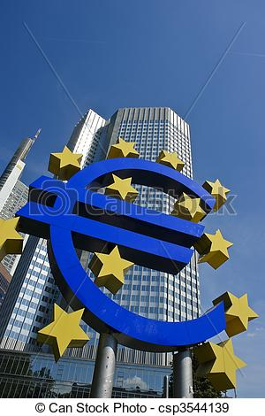 Stock Photographs of Euro symbol with European central bank.