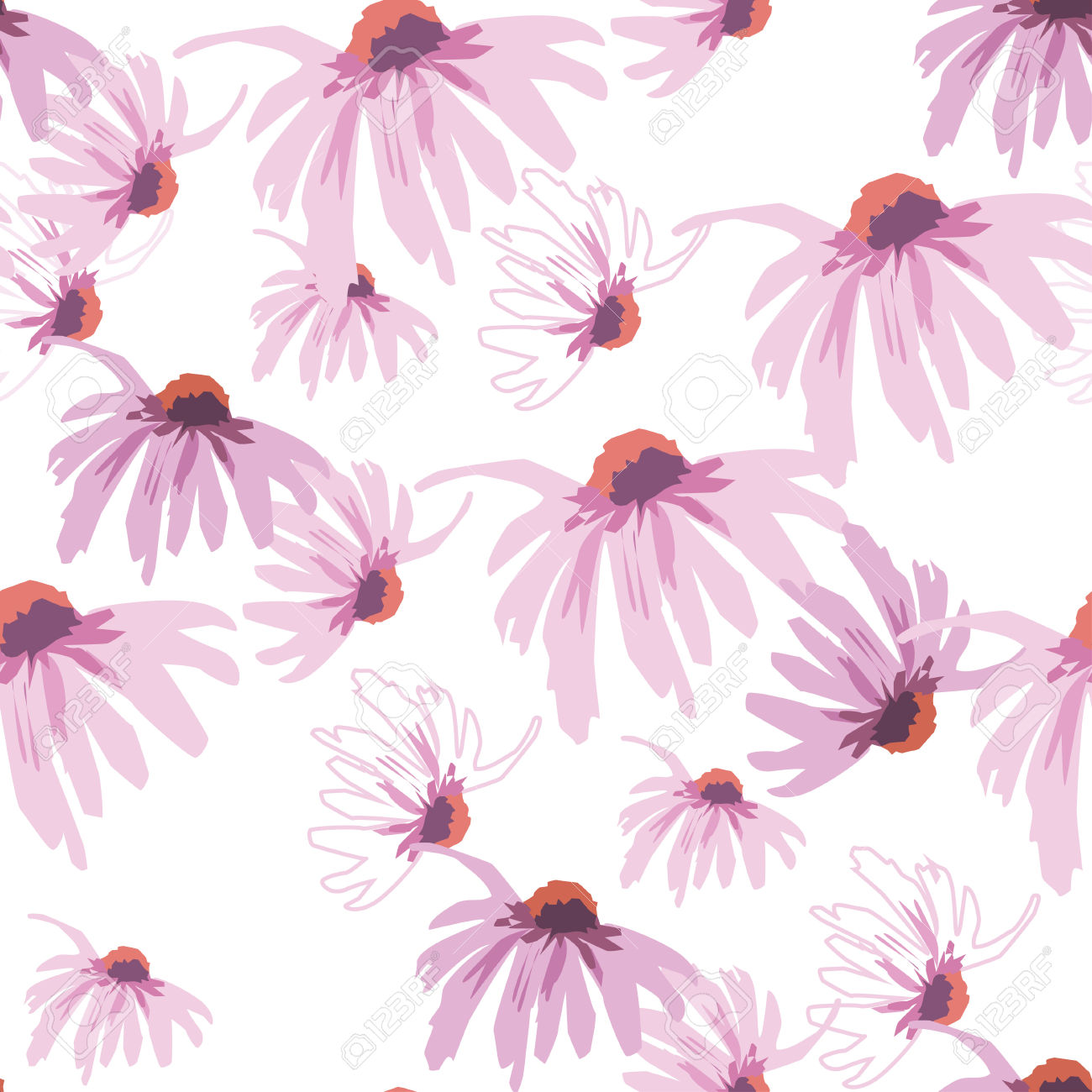 Seamless Densely Filled Pattern With Echinacea Flower Isolated.