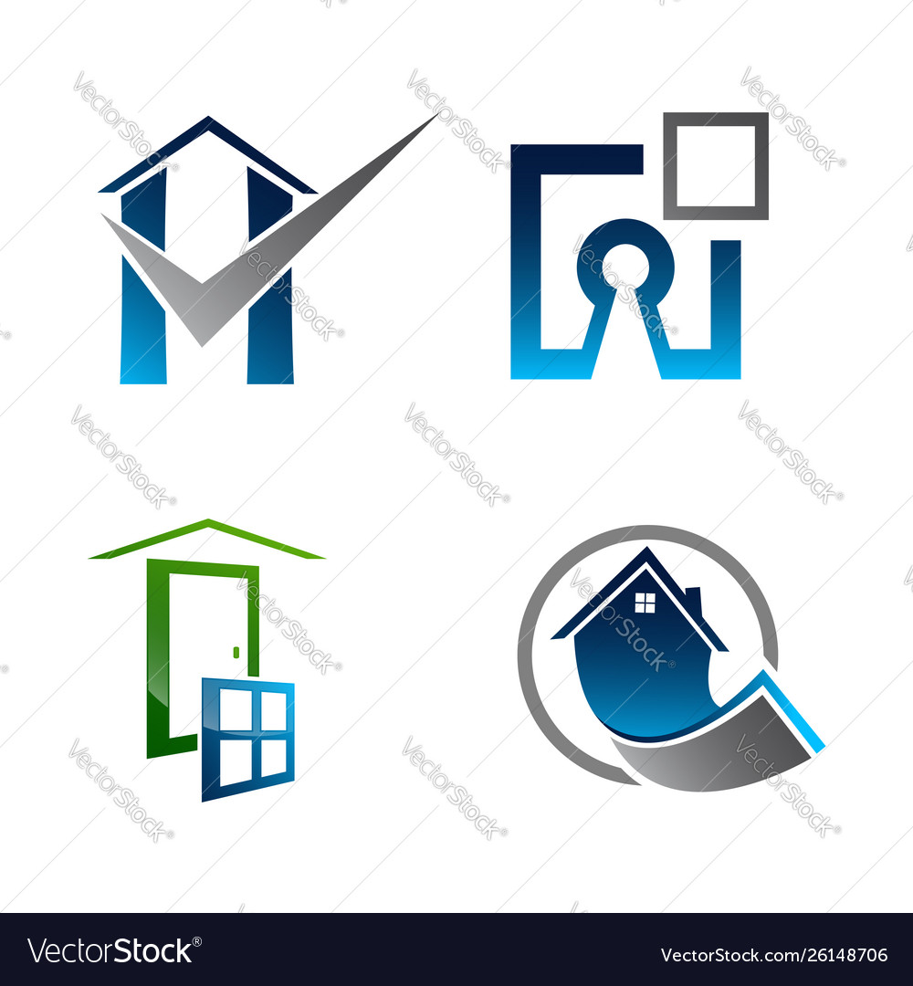 Real estate logo set building and construction.