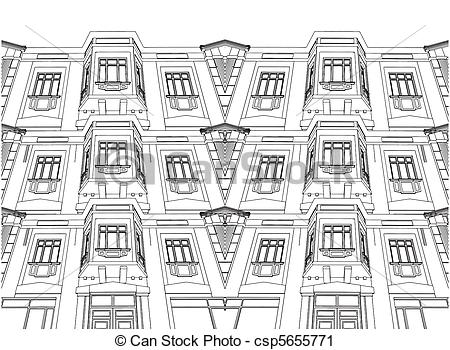 Vector Clip Art of Abstract Building Eclectic House Vector.