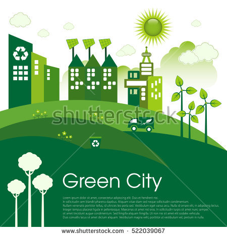 Green Eco City Living Concept Stock Vector 528601390.