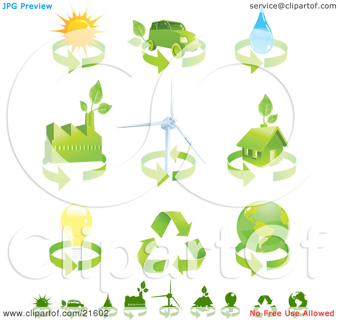 Clipart Illustration Graphic of a Collection Of Green Energy Icons.
