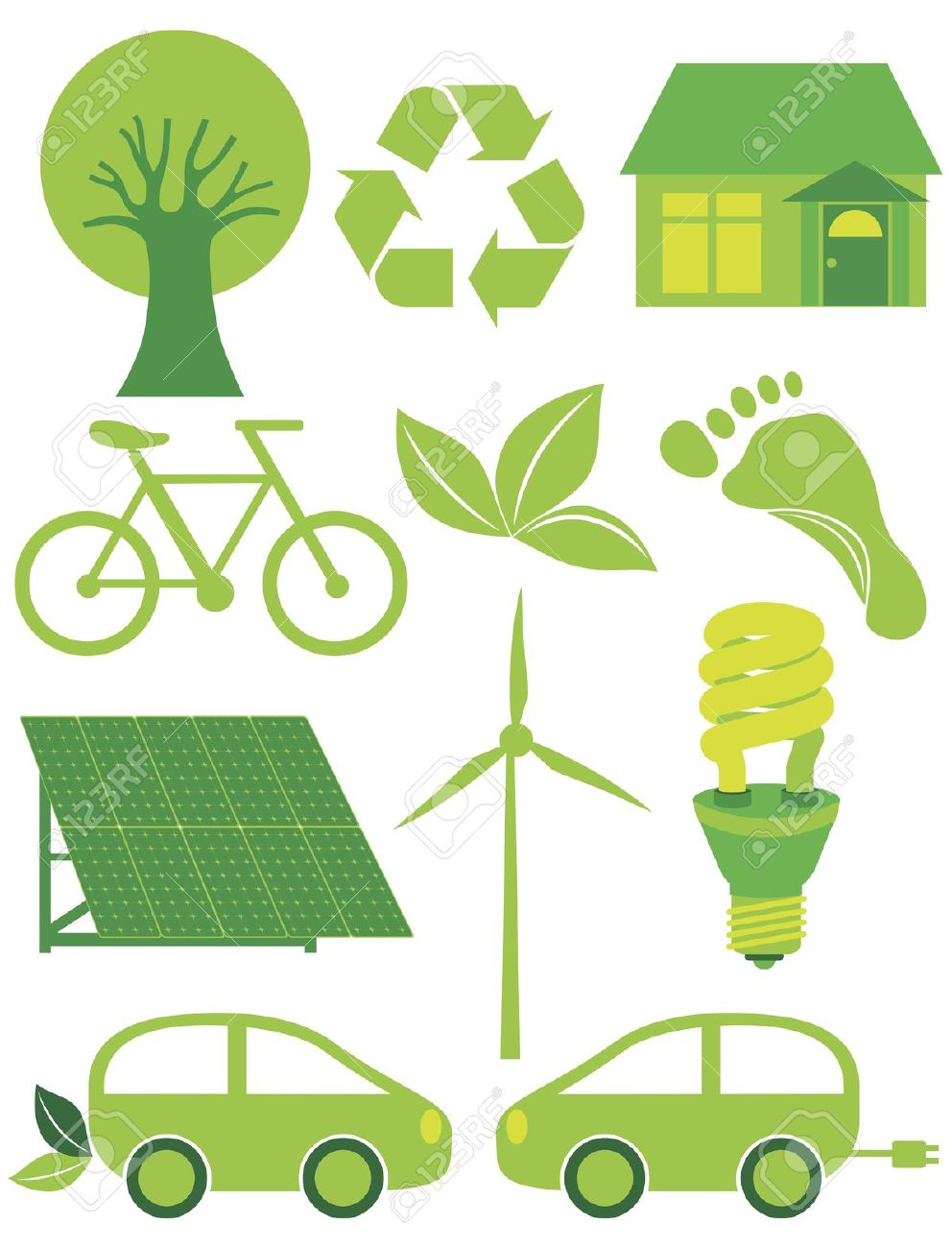Go Green Eco Symbols With Tree Recycle Leaf Footprint Bicycle.