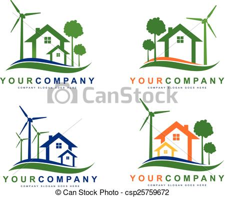 Vectors Illustration of Green Eco Electricity. Sustainable wind.