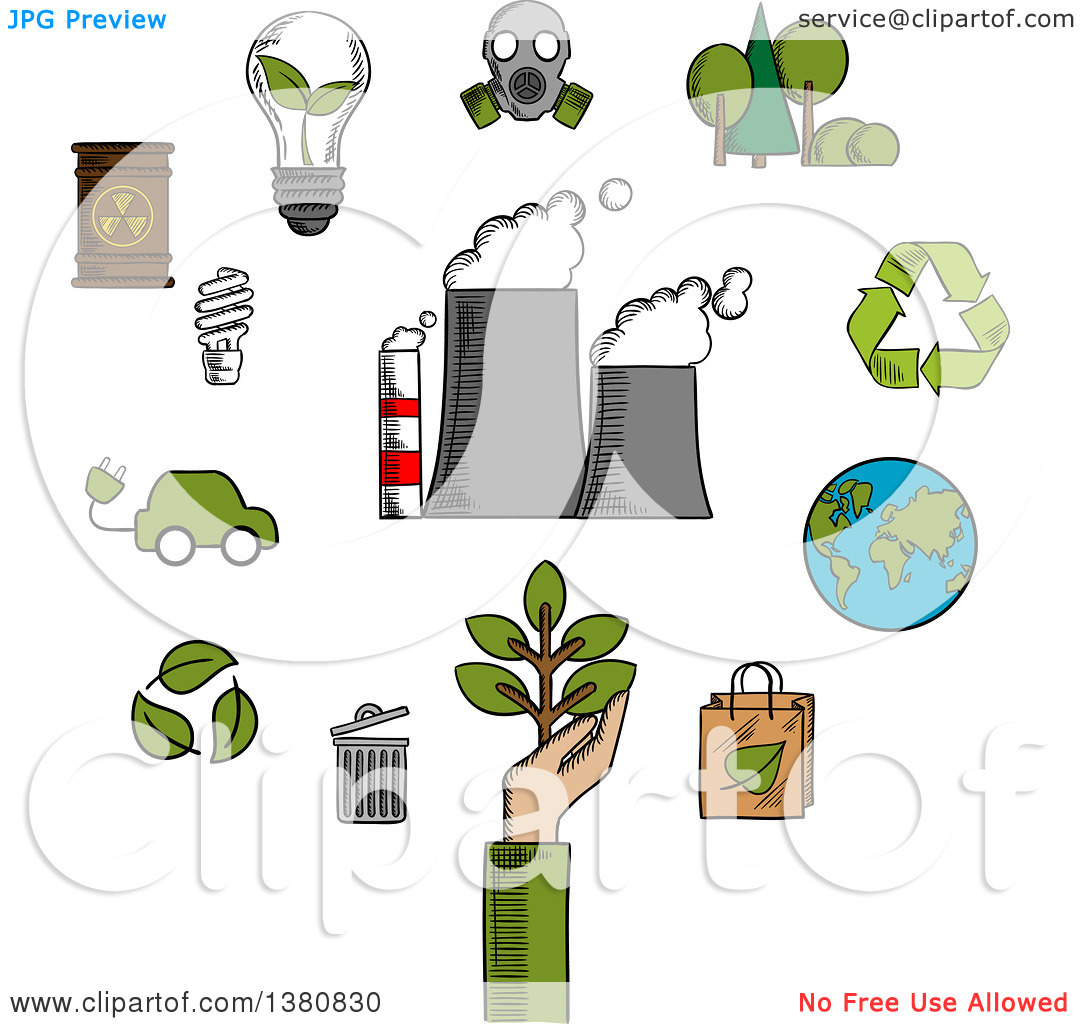 Clipart of Sketched Environment and Ecological Conservation Icons.