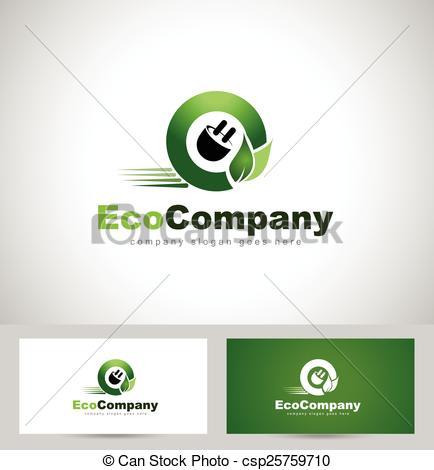 Vector Clip Art of Eco Electricity Logo. Creative concept of a car.