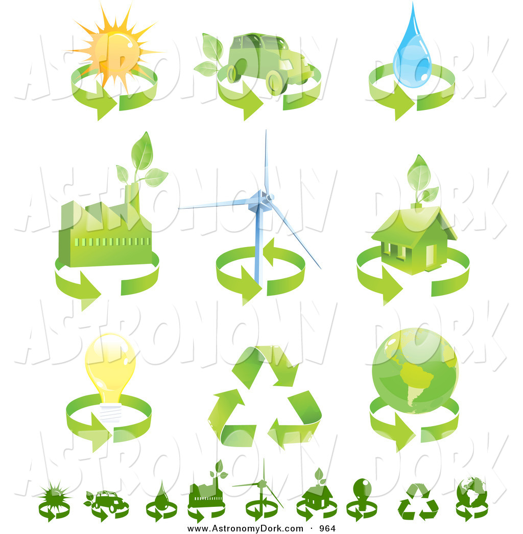 Clip Art of a Collection of Green Eco Friendly Energy Icons of.