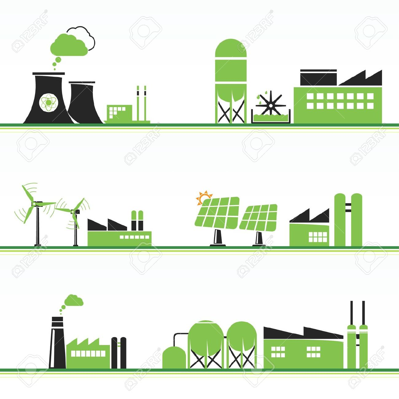 ECO Power Plants And Facilities Royalty Free Cliparts, Vectors.