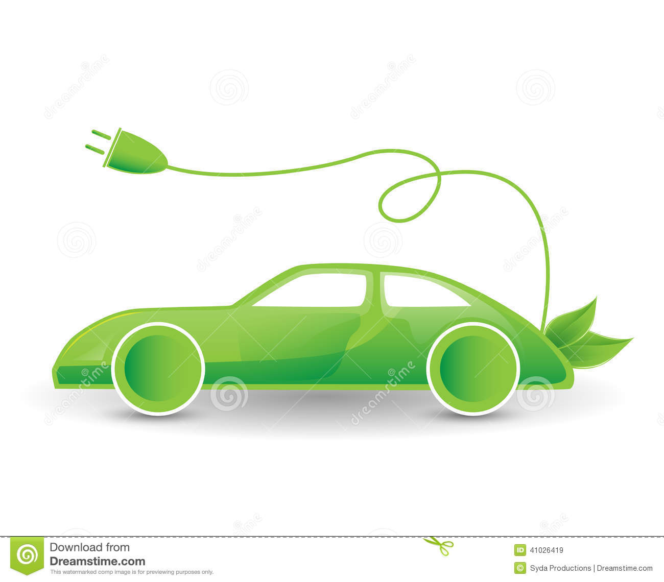 Green Eco Electric Car Illustration Stock Illustration.