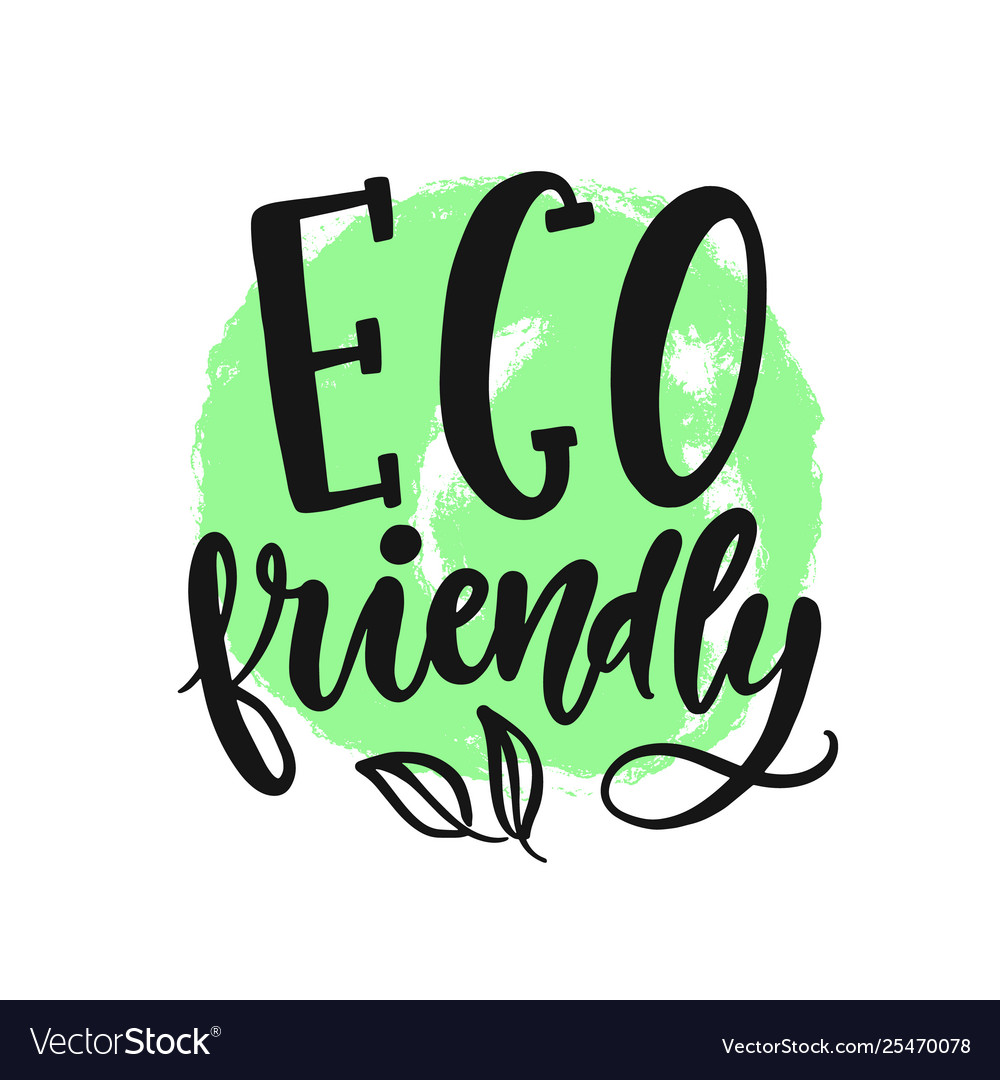 Eco friendly sign round vegan green logo.