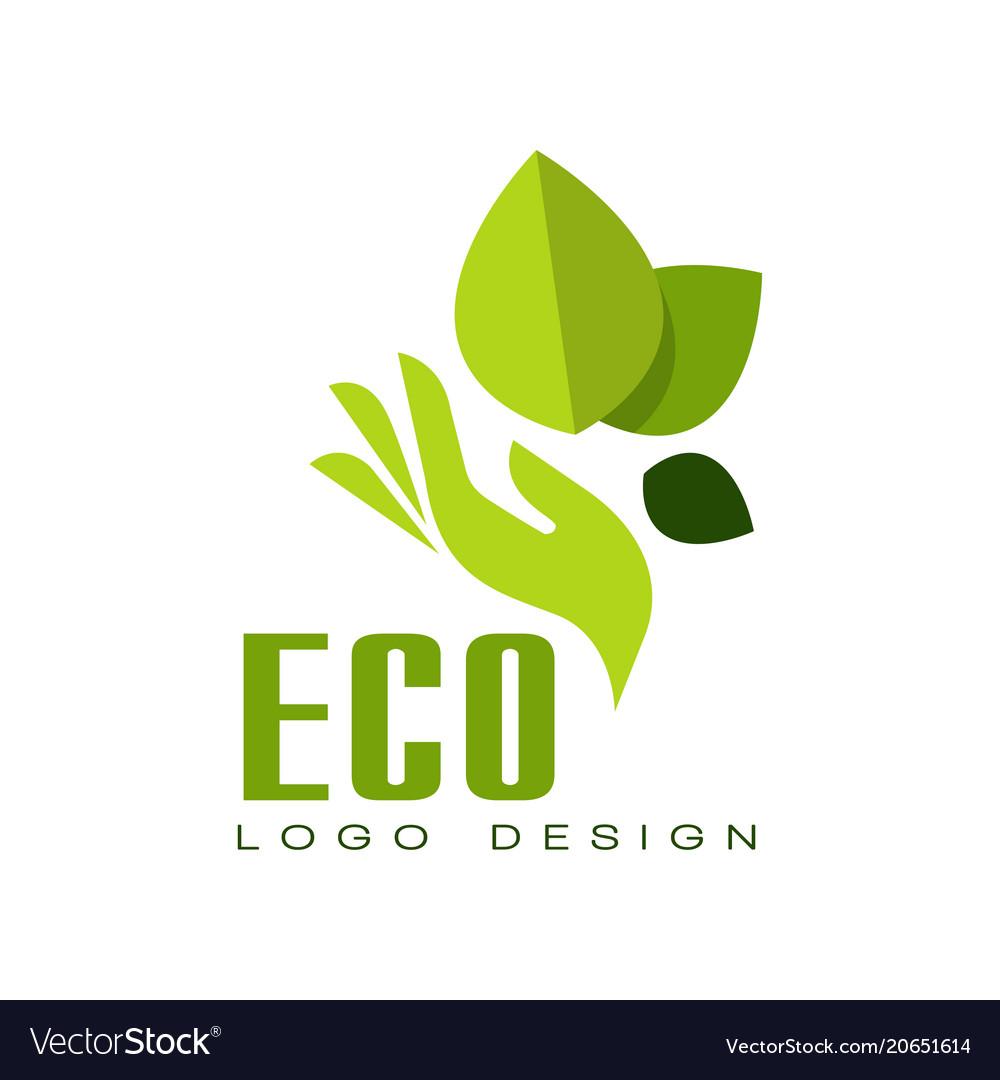Eco logo design healthy organic food label.