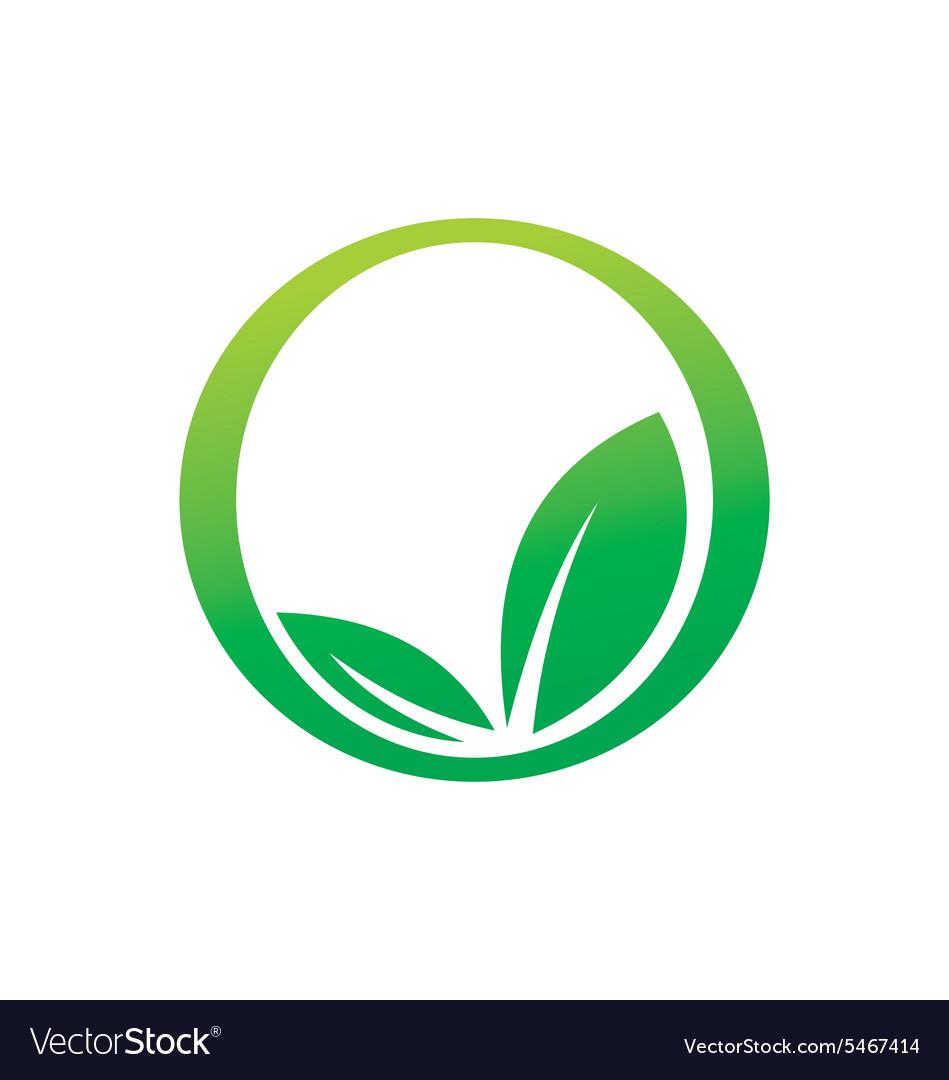 Green leaf botany round icon eco logo.