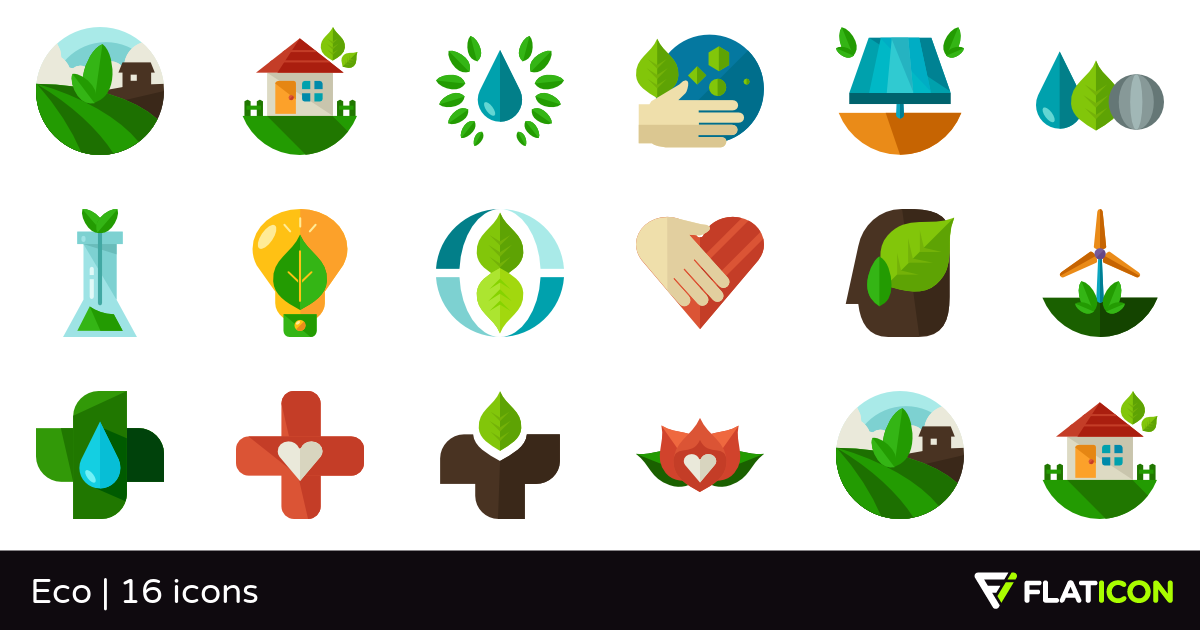 Eco 16 free icons (SVG, EPS, PSD, PNG files).