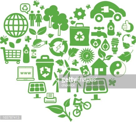 Eco Green and Recycling Symbols Montage IN Heart Shape.