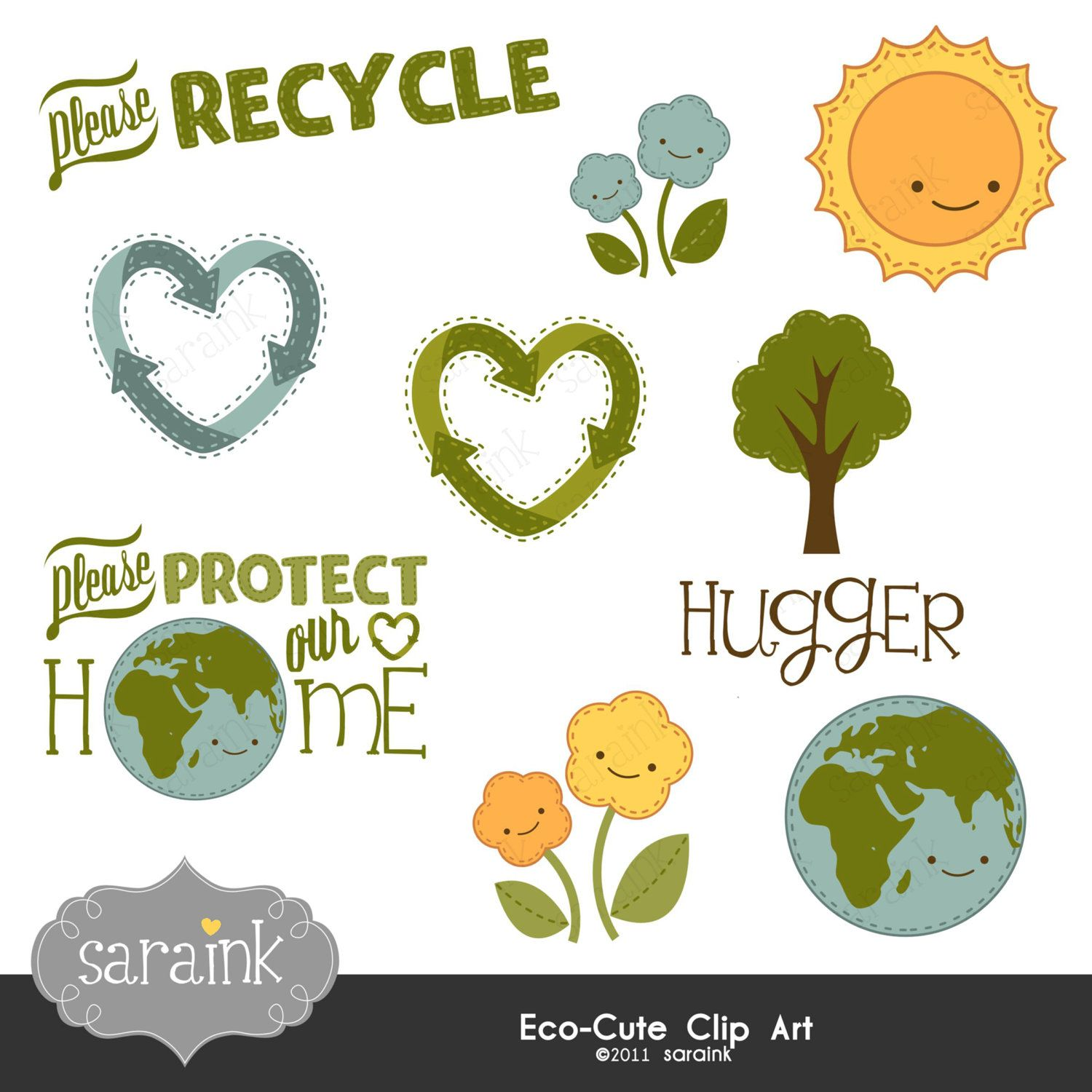 Earth Clipart, Globe Clipart, Sun Clipart, Recycling Clipart.