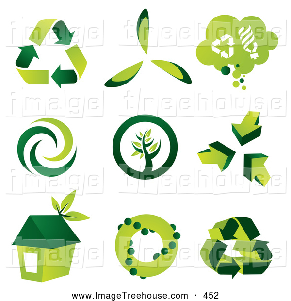 Clipart of a Digital Collage of Green Eco Friendly Icons by TA.