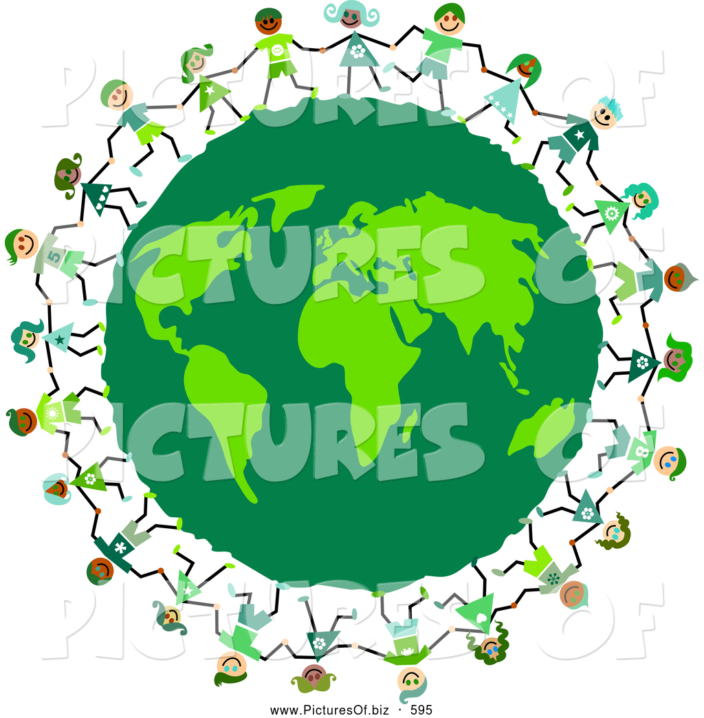 Clipart of Kids Circling a Green Eco Friendly Earth Globe by.