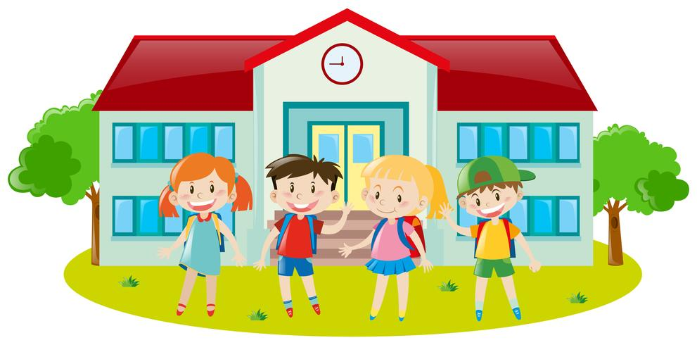 Four kids at school ground.